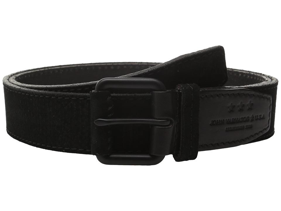 John Varvatos - 38mm Textured Suede Belt (Black) Men