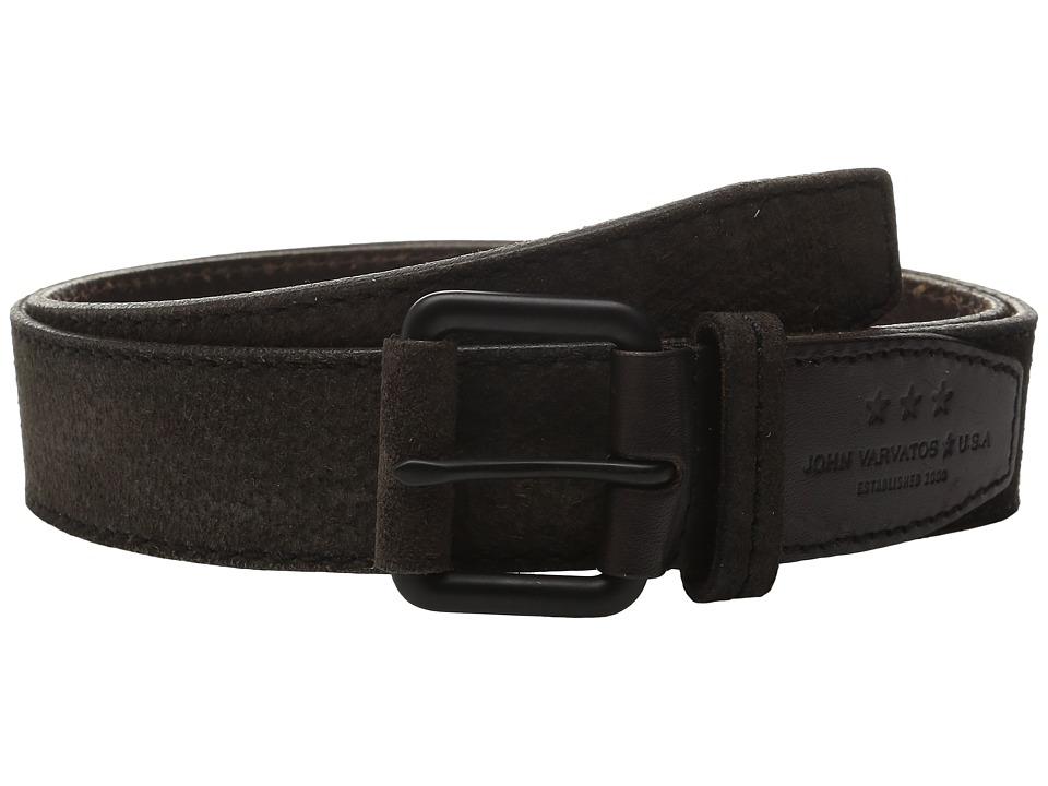 John Varvatos - 38mm Textured Suede Belt (Brown) Men
