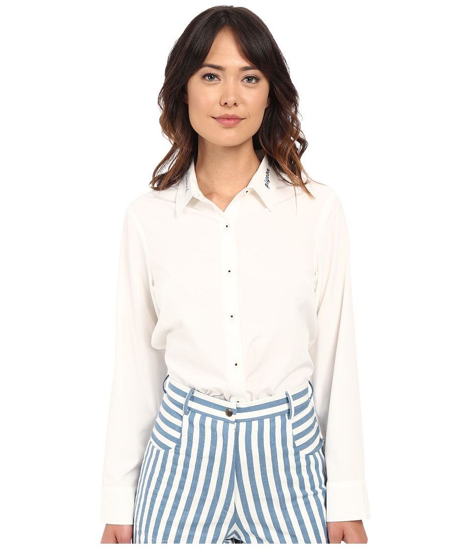 Rachel Antonoff Snuffles Top with Embroidery Cream Womens Clothing
