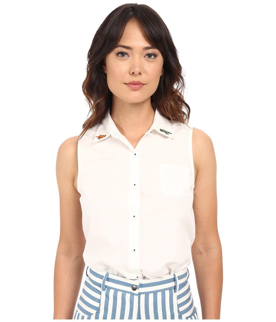 Rachel Antonoff Sleeveless Bobby Top Embroidered White Womens Sleeveless