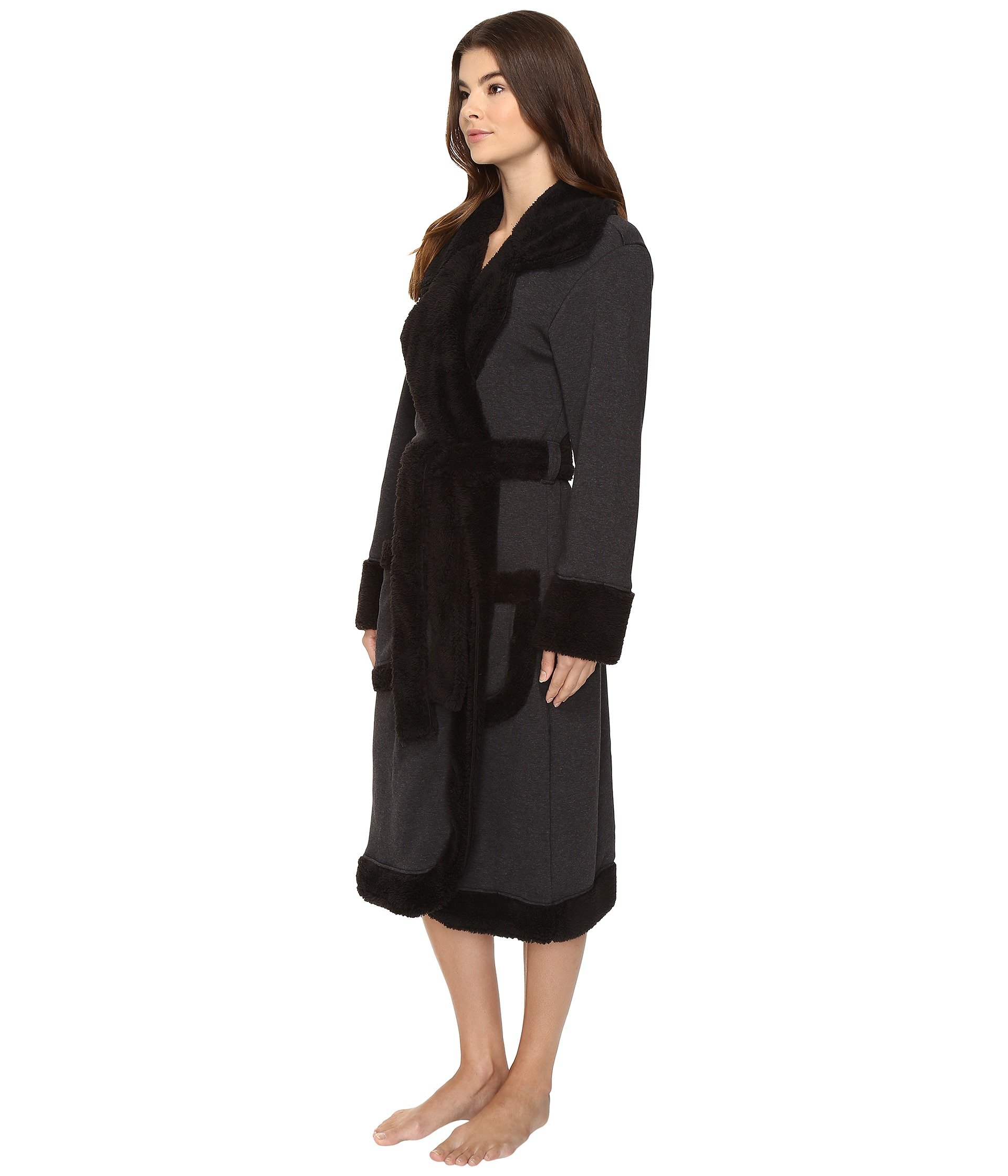 ugg duffield deluxe robe black bear heather. Black Bedroom Furniture Sets. Home Design Ideas