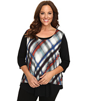 Karen Kane Plus - Plus Size 3/4 Sleeve Plaid Overlay Top