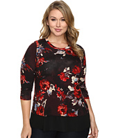 Karen Kane Plus - Plus Size Painted Rose Contrast Hem Top