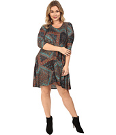 Karen Kane Plus - Plus Size Tile Mosaic Maggie Trapeze Dress