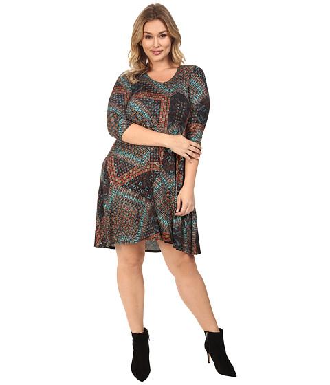 Karen Kane Plus Plus Size Tile Mosaic Maggie Trapeze Dress