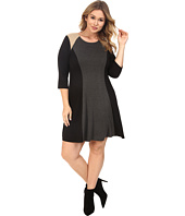 Karen Kane Plus - Plus Size Faux Suede Yoke Color Block Dress