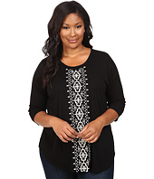 Karen Kane Plus - Plus Size 3/4 Sleeve Embroidered Top
