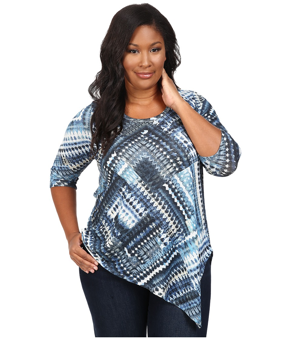Karen Kane Plus Plus Size Blue Diamond Asymmetrical Hem Tee (Print) Women