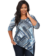 Karen Kane Plus - Plus Size Blue Diamond Asymmetrical Hem Tee