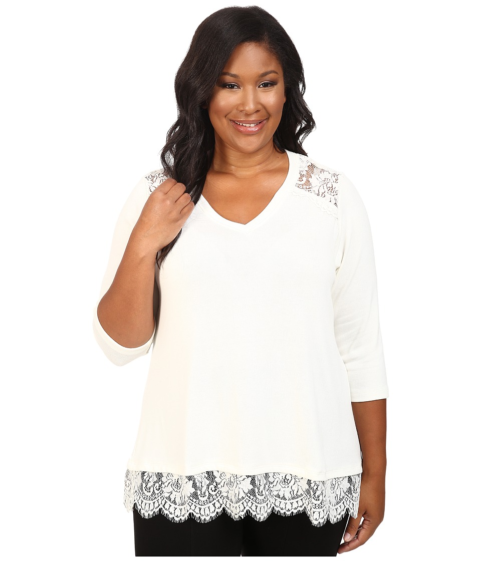Karen Kane Plus - Plus Size Lace Yoke Inset Sweater (Cream) Women