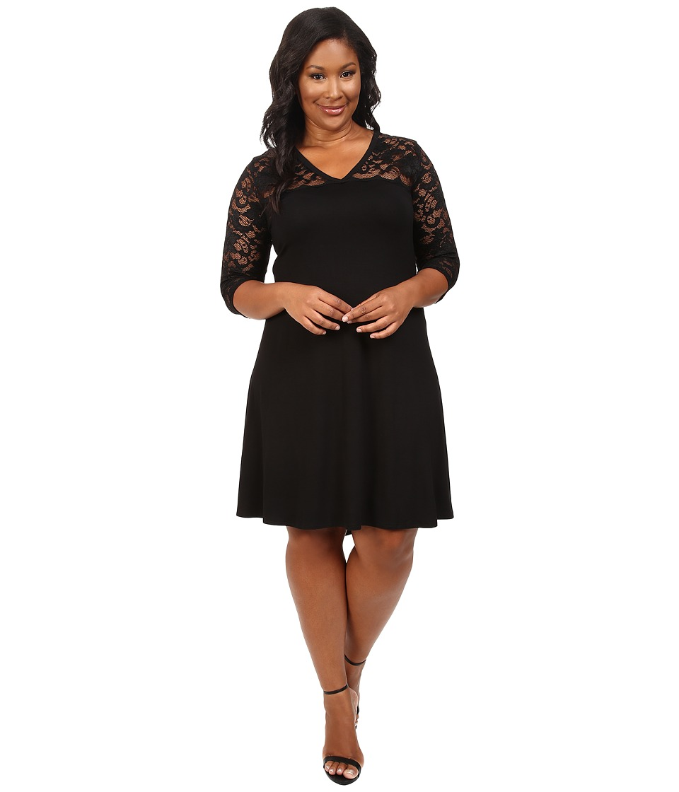Karen Kane Plus - Plus Size V-Neck Lace Yoke Swing Dress