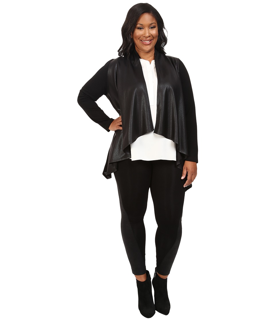 Karen Kane Plus Karen Kane Plus - Plus Size Faux Leather Front Knit Jacket