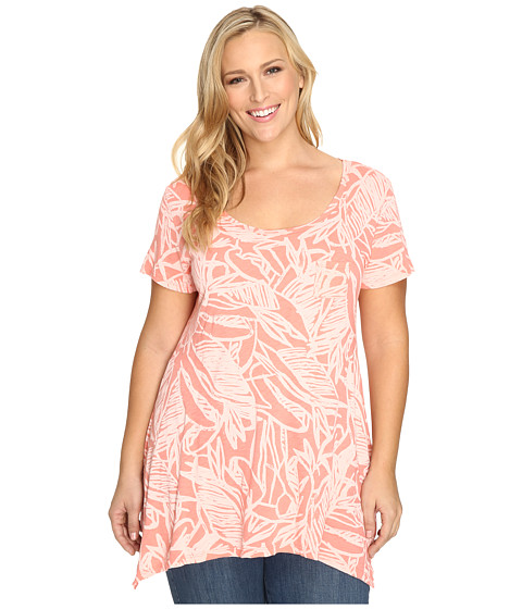 Fresh Produce - Plus Size Cancun Vintage Drape Tee (Melon Sherbert Pink) Women's Clothing