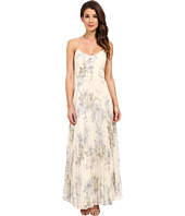JILL JILL STUART - Spagetti Strap Crinkle Chiffon Printed Gown