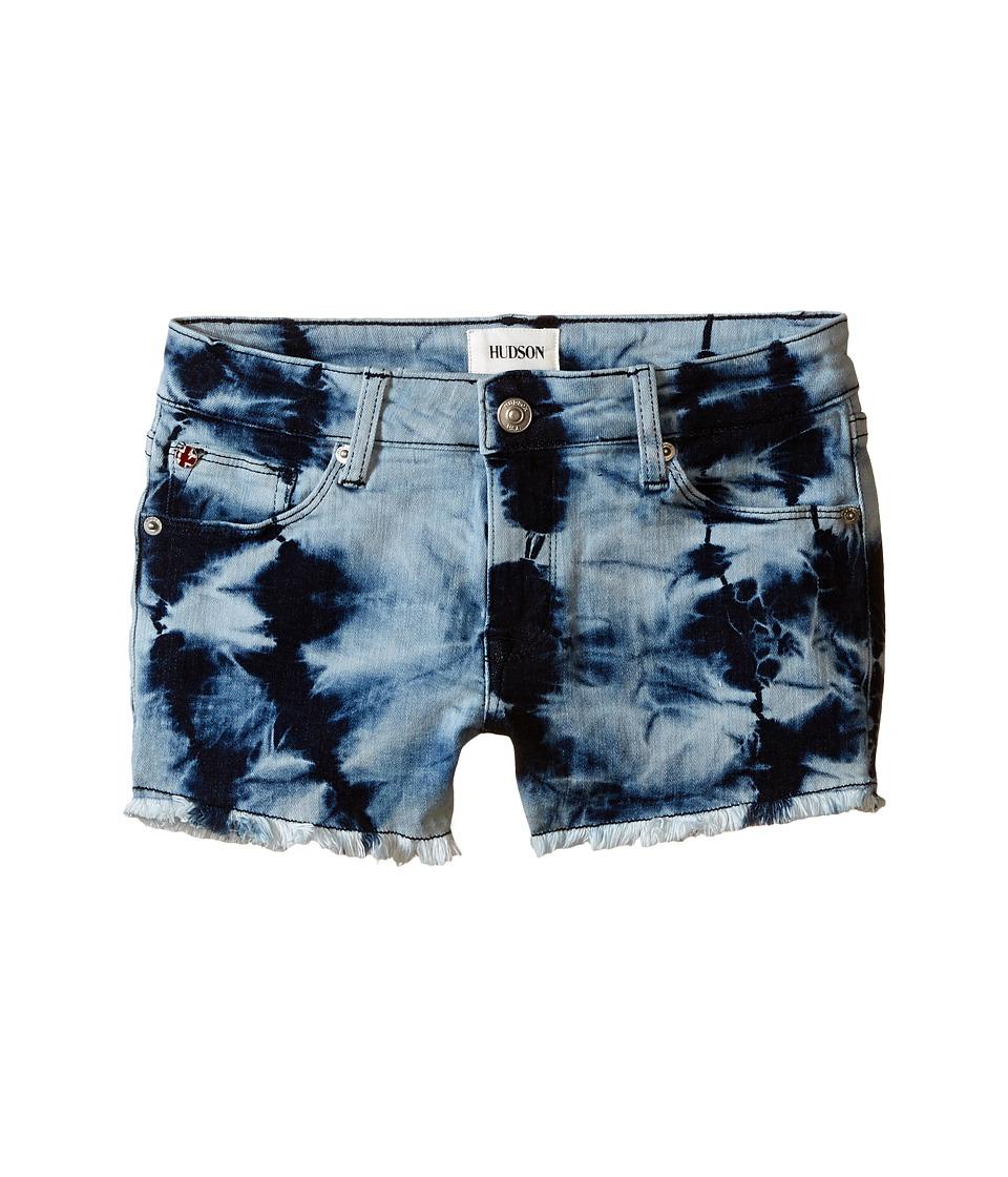 Hudson Kids 2 1/2 Fray Superpower Tie Dye Shorts in Retro Blue Big Kids Retro Blue Girls Shorts