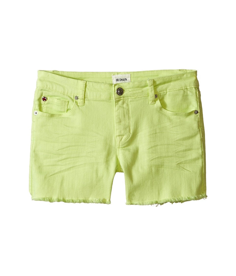 Hudson Kids 3 Fray Colored Ava Shorts in Mellow Yellow Big Kids Mellow Yellow Girls Shorts