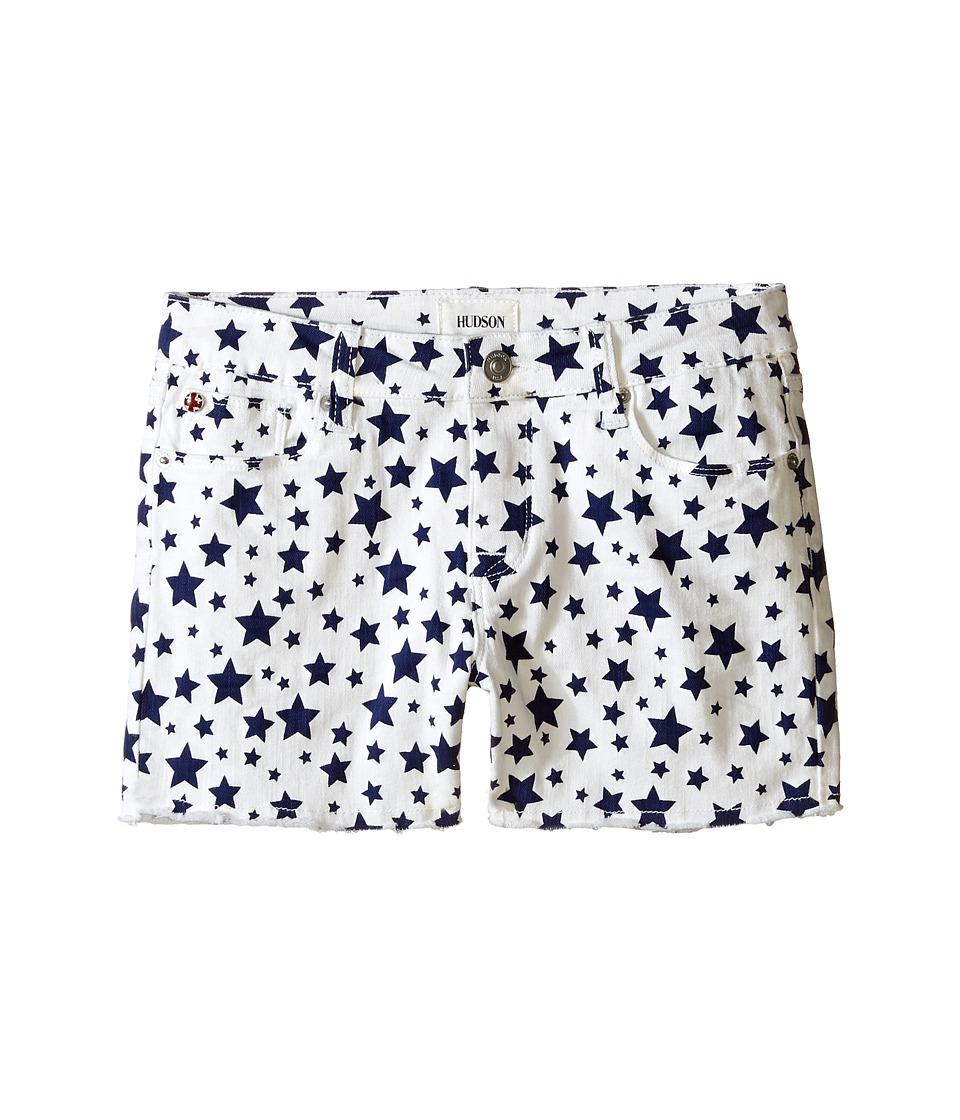 Hudson Kids 3 Fray Printed Ava Shorts in White/Electric Blue Big Kids White/Electric Blue Girls Shorts