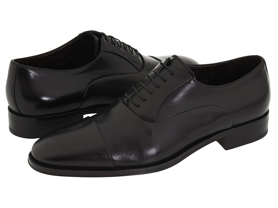 Bruno Magli - Maioco (Black Nappa Leather) Mens Lace Up Cap Toe Shoes
