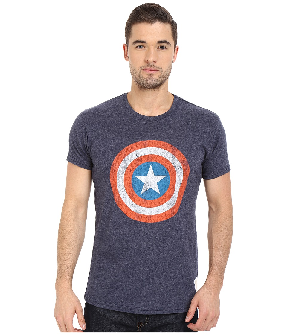 The Original Retro Brand Captain America Short Sleeve Tri Blend Tee Streaky Navy Mens T Shirt