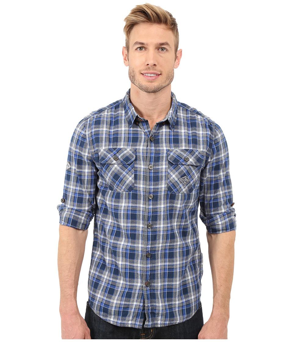 Superdry Grindlesawn Shirt Post It Cobalt Mens Long Sleeve Button Up