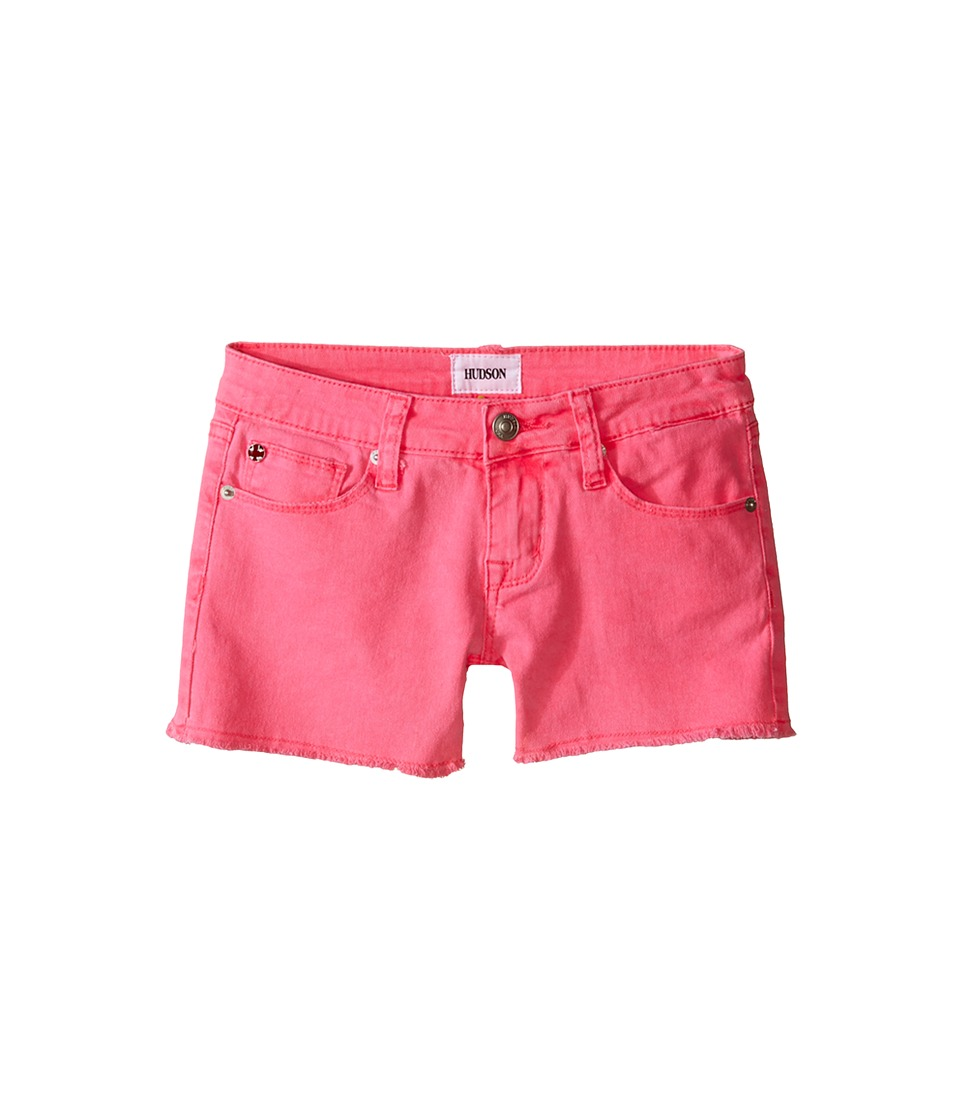 Hudson Kids 3 Fray Colored Ava Shorts in Pop Pink Big Kids Pop Pink Girls Shorts
