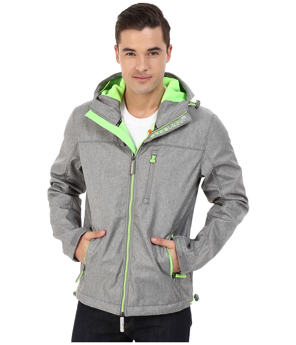 Superdry Hooded Windtrekker Light Grey Marl/Fluoresent Lime Mens Coat