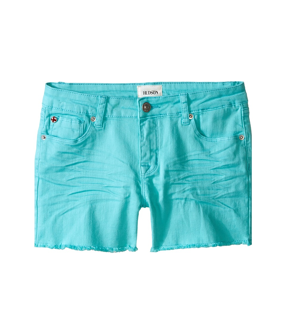 Hudson Kids 3 Fray Colored Ava Shorts in Dew Melon Big Kids Dew Melon Girls Shorts