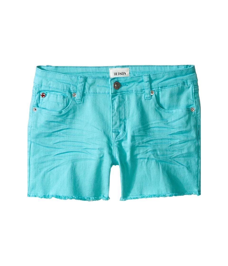 Hudson Kids 3 Fray Colored Ava Shorts in Dew Melon Big Kids Dew Melon Girls Shorts