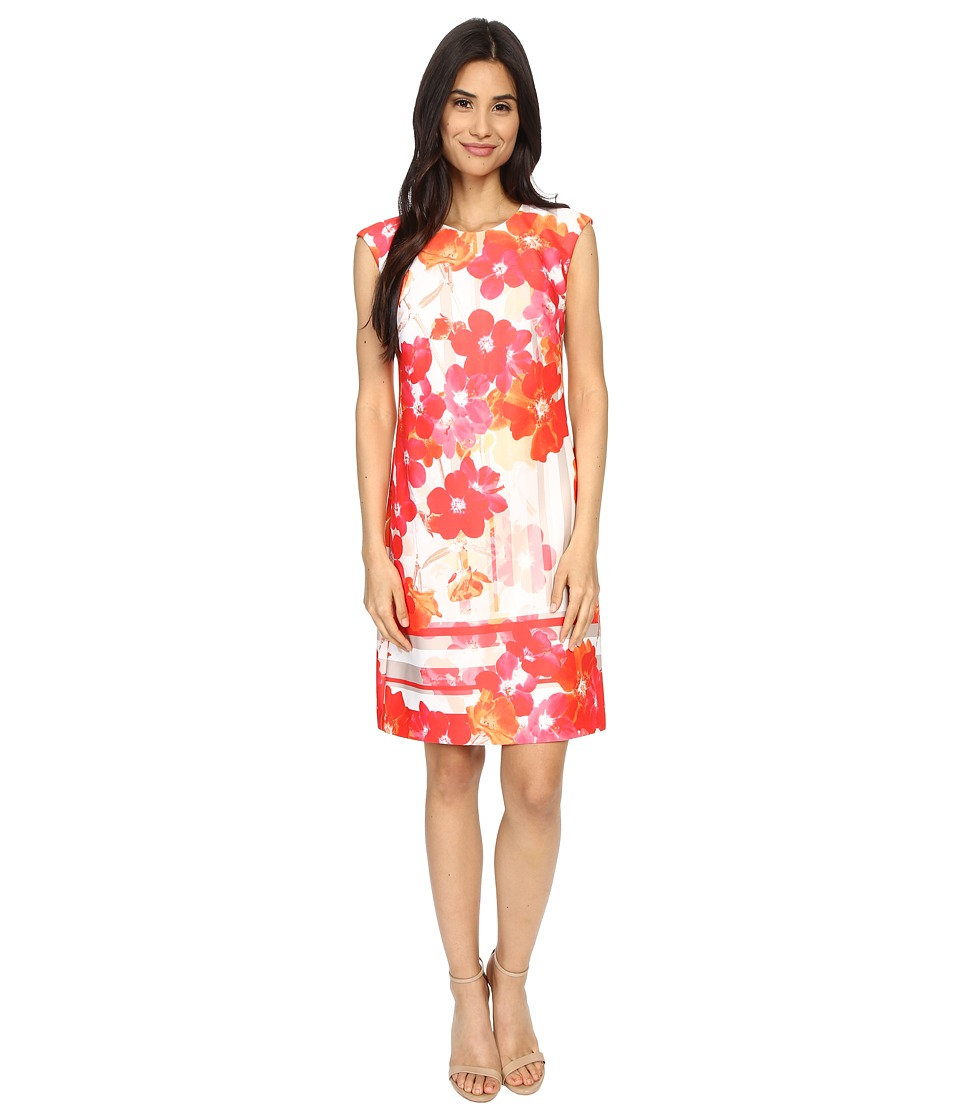 Vince Camuto Printed Scuba Extended Cap Sleeve Shift Dress Pink Multi Womens Dress