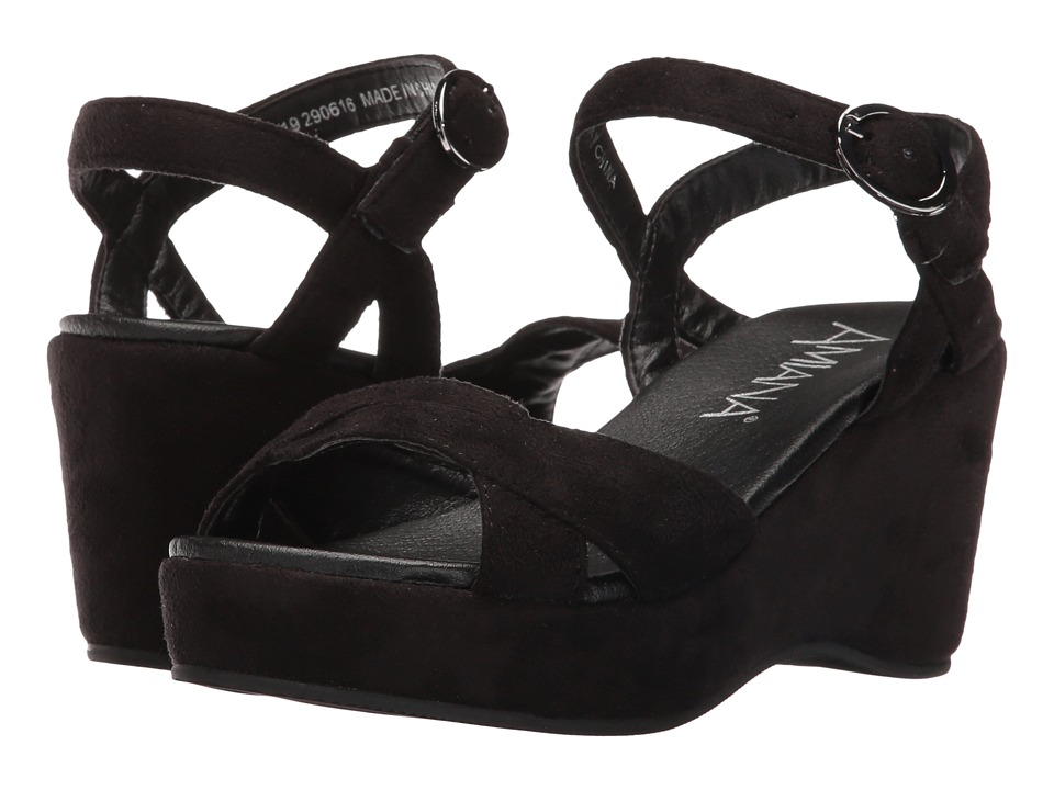 Image of Amiana - 15-A5419 (Little Kid/Big Kid/Adult) (Black Suede Fabric) Girl's Shoes