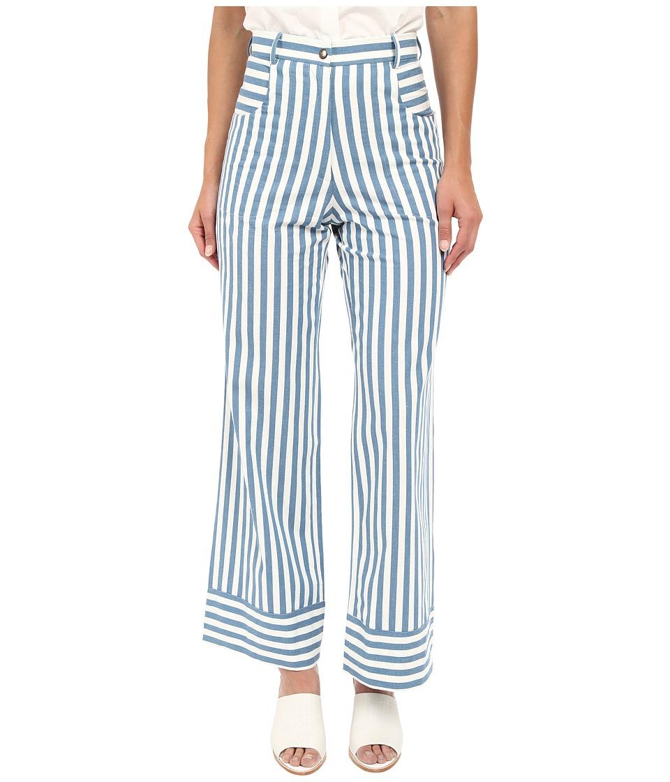 Rachel Antonoff Capi Crop Flare Blue Stripe Womens Casual Pants