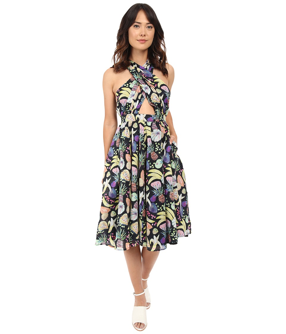 Rachel Antonoff Samantha Wrap Halter Dress Tutti Frutti Black Womens Dress