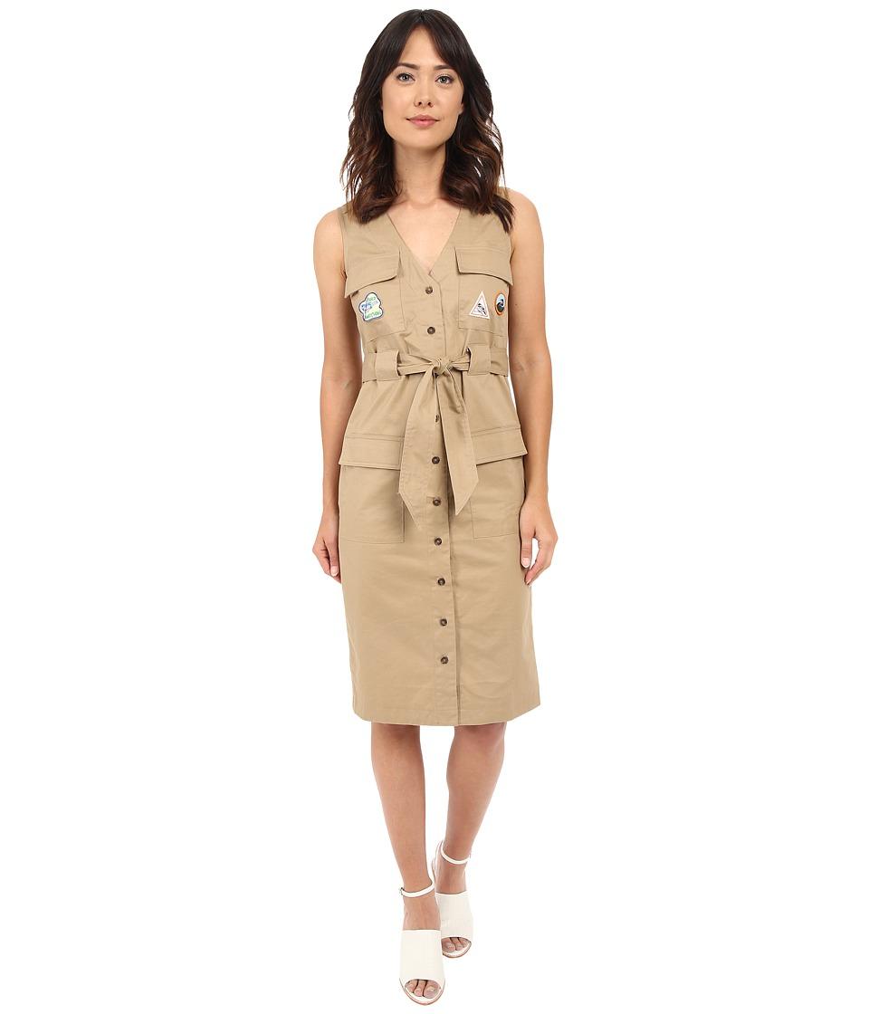 Rachel Antonoff Hammy V Neck Cargo Dress with Patches Khaki Womens Dress