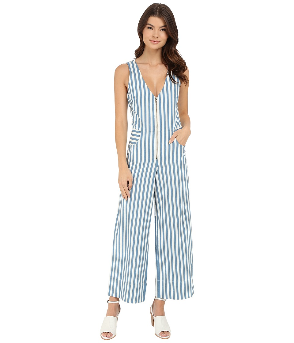 Rachel Antonoff Ace Plunge Jumpsuit Blue Stripe Womens Jumpsuit Rompers One Piece