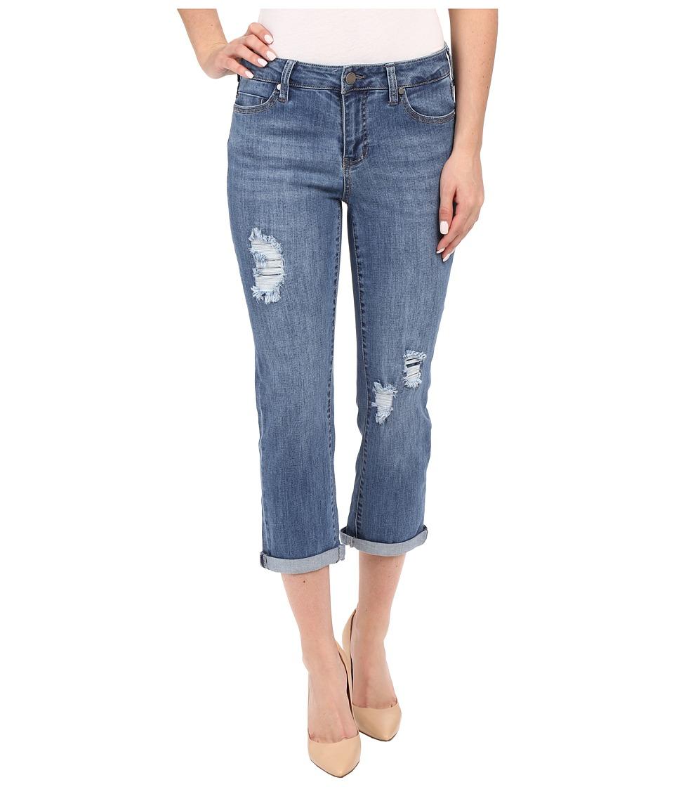 Liverpool Michelle Capris w/ Destruction in Melbourne Light Blue Melbourne Light Blue Womens Jeans