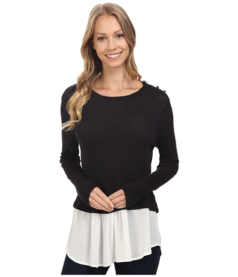 B Collection by Bobeau Agatha Mixed Media Top with Button Shoulder - Black