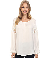 B Collection by Bobeau - Gracie Blouse with Crochet Trim
