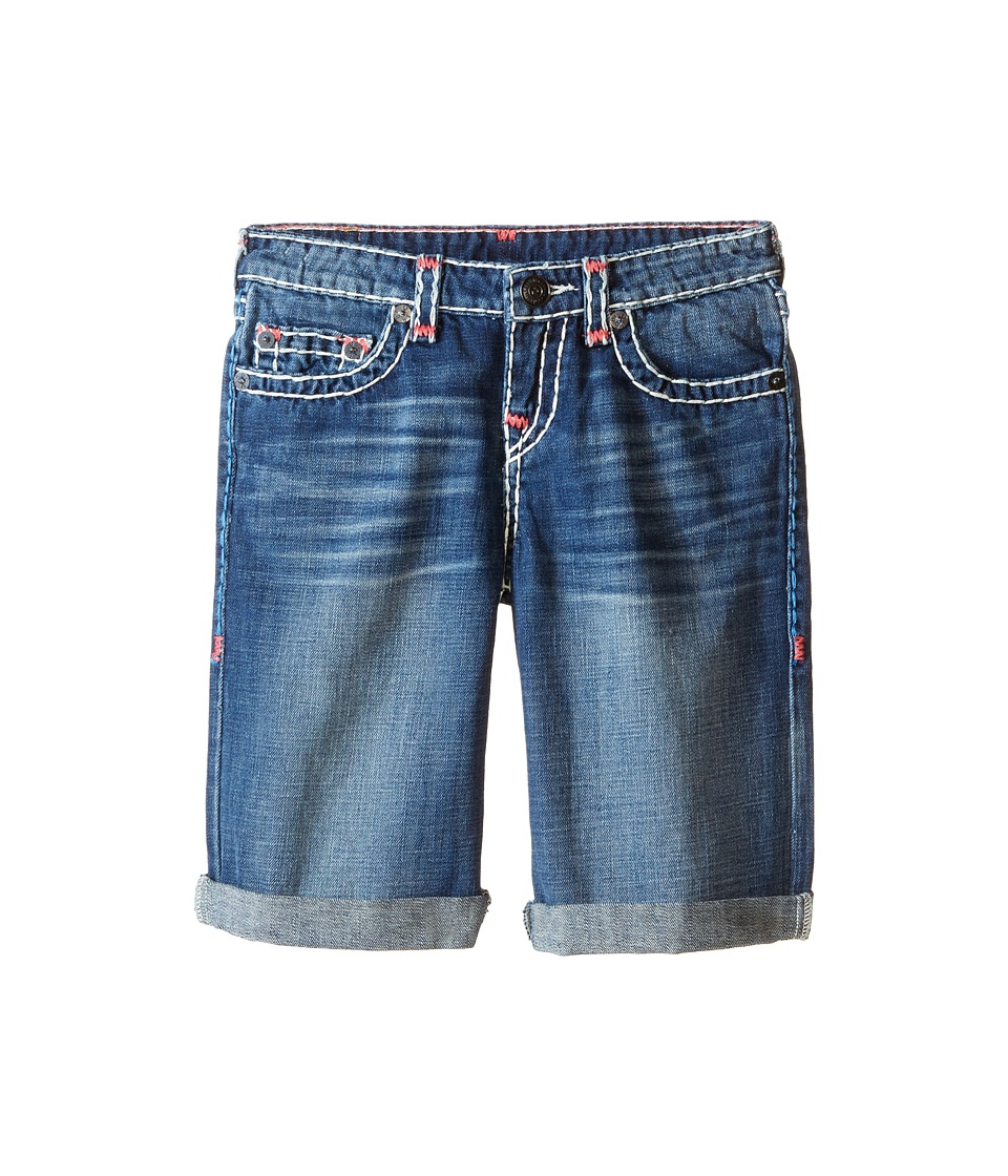 True Religion Kids Ricky Roll Up Color Combo Super T Shorts Big Kids Vintage Blue Boys Shorts