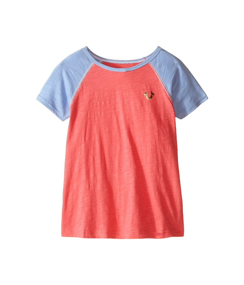 True Religion Kids Branded Logo Color Block Tee Toddler/Little Kids Coral Girls T Shirt