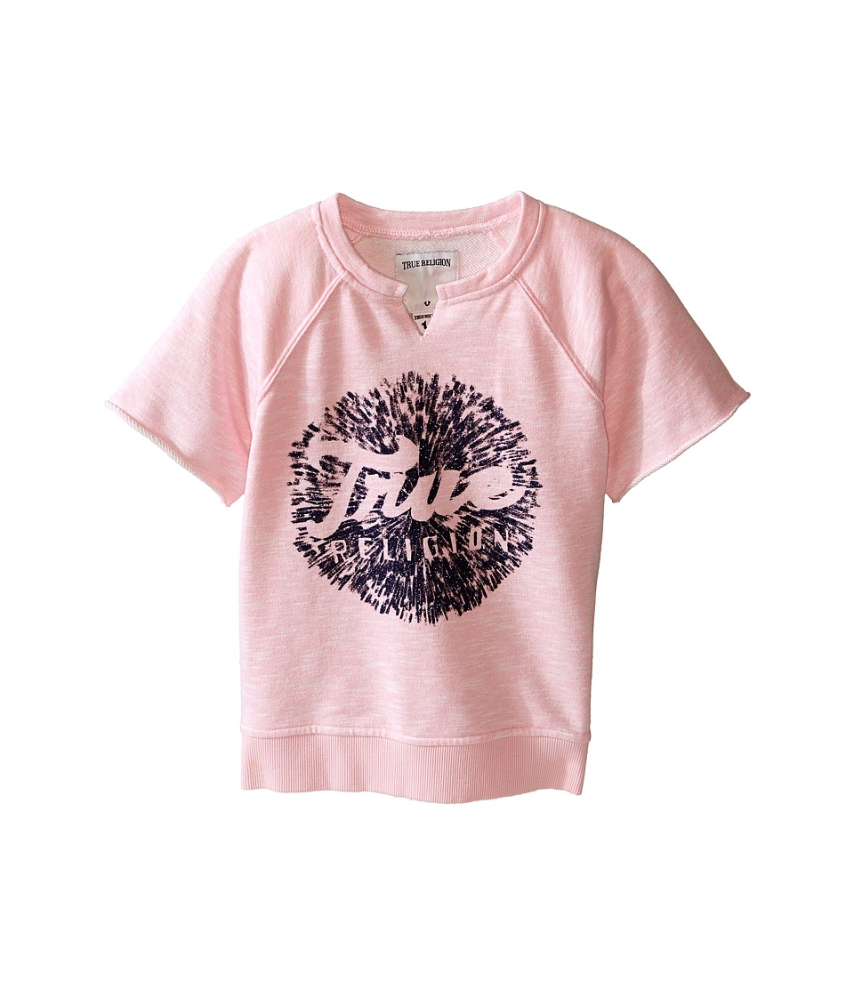 True Religion Kids Raw Edge Pullover Sweatshirt Toddler/Little Kids After Glow Girls Short Sleeve Pullover