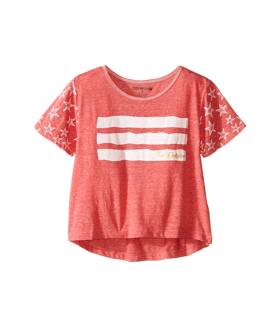 True Religion Kids Stars Stripes Drape Tee Toddler/Little Kids Coral Heather Girls T Shirt