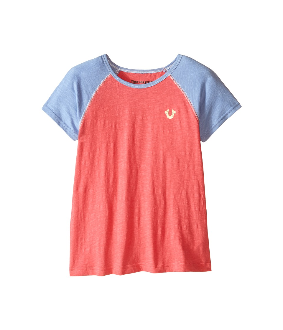 True Religion Kids Branded Logo Color Block Tee Little Kids/Big Kids Coral Girls T Shirt