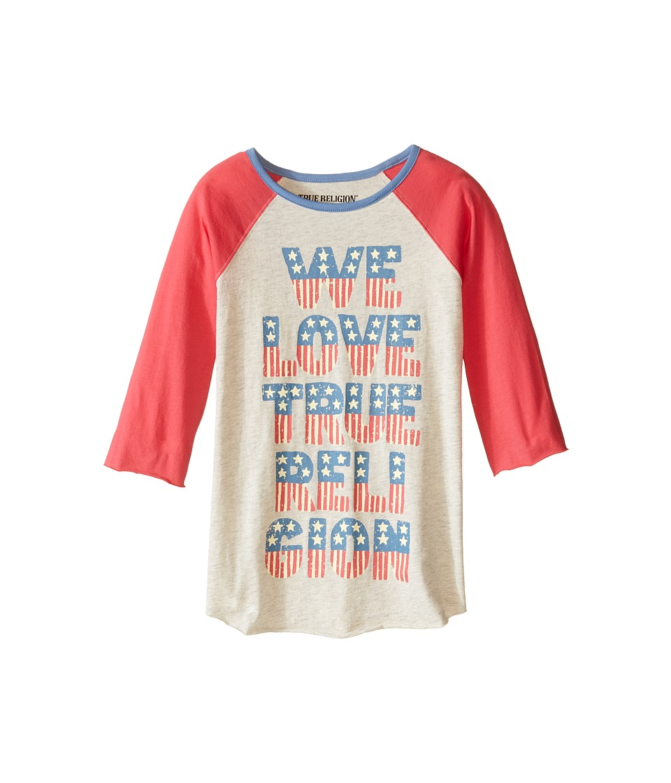 True Religion Kids We Love True Religion Football Tee Toddler/Little Kids Oatmeal Heather Girls T Shirt