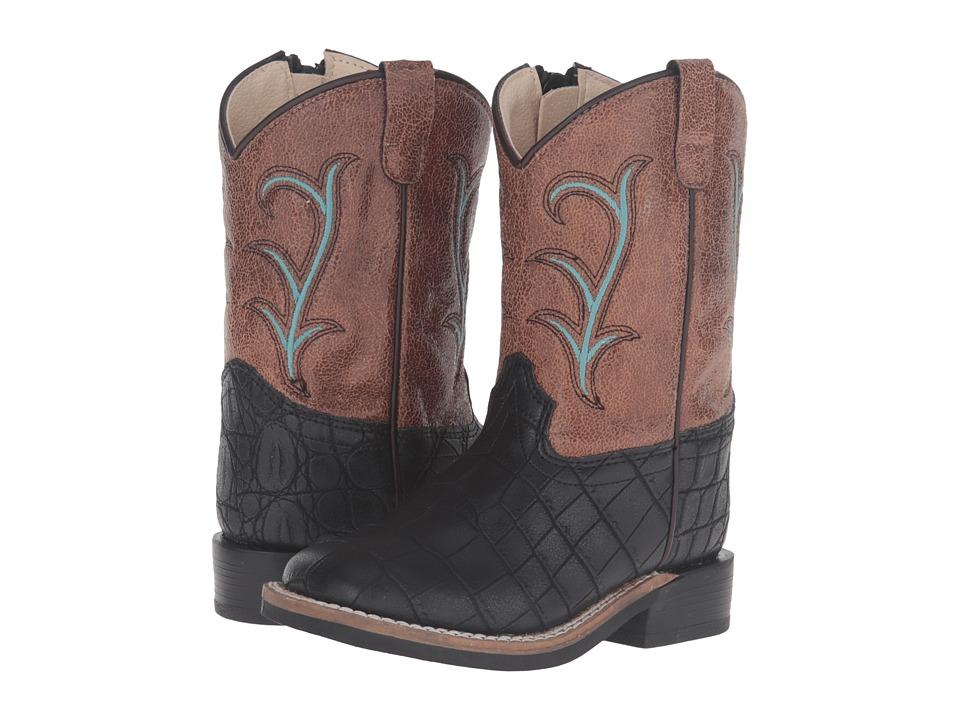 Old West Kids Boots - Square Toe (Toddler) (Black Croc Print) Cowboy Boots