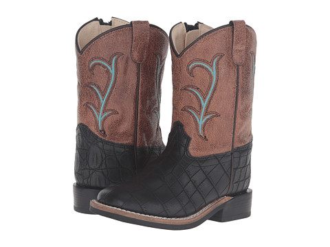 Old West Kids Boots Square Toe (Toddler) - Black Croc Print