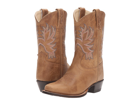 Old West Kids Boots Medium Square Toe (Toddler/Little Kid) - Tan Fry
