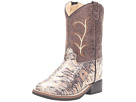 Old West Kids Boots Square Toe (Toddler) (Chocolate Lizard Print)