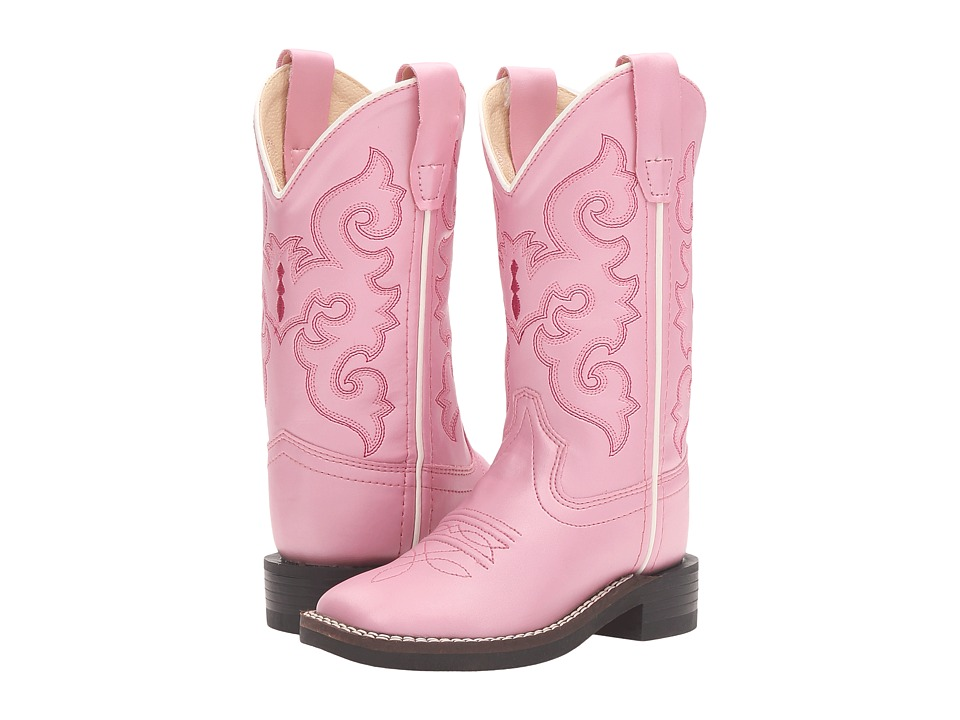 Old West Kids Boots - R Toe w/ Silver Toe Rand (Toddler/Little Kid) (Pink) Cowboy Boots