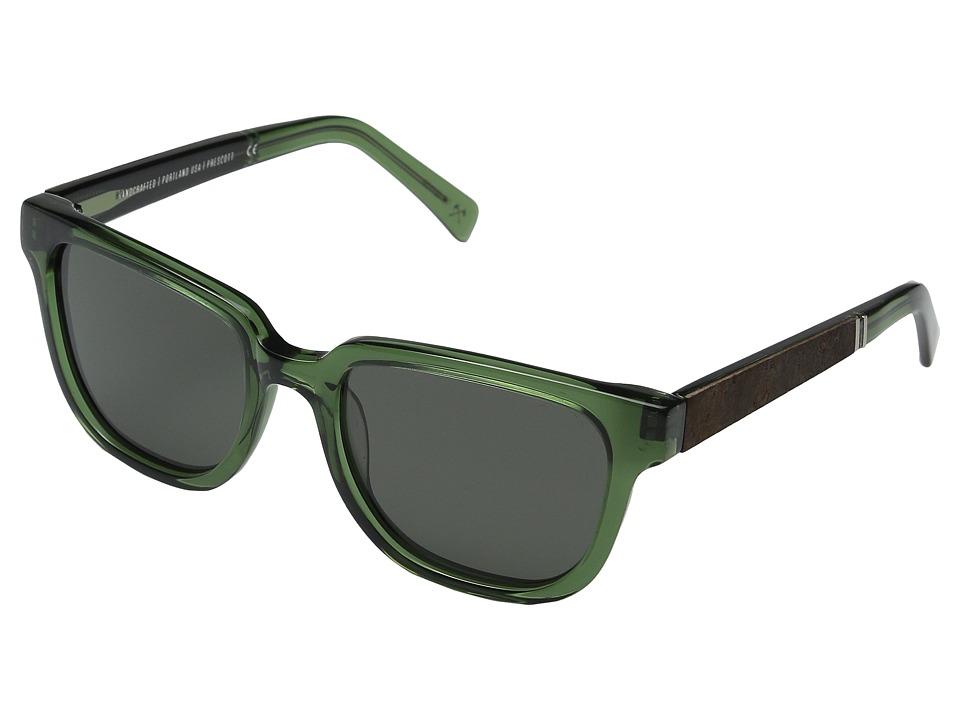 Shwood Prescott (Emerald/Elm Burl/Grey Polarized) Fashion Sunglasses