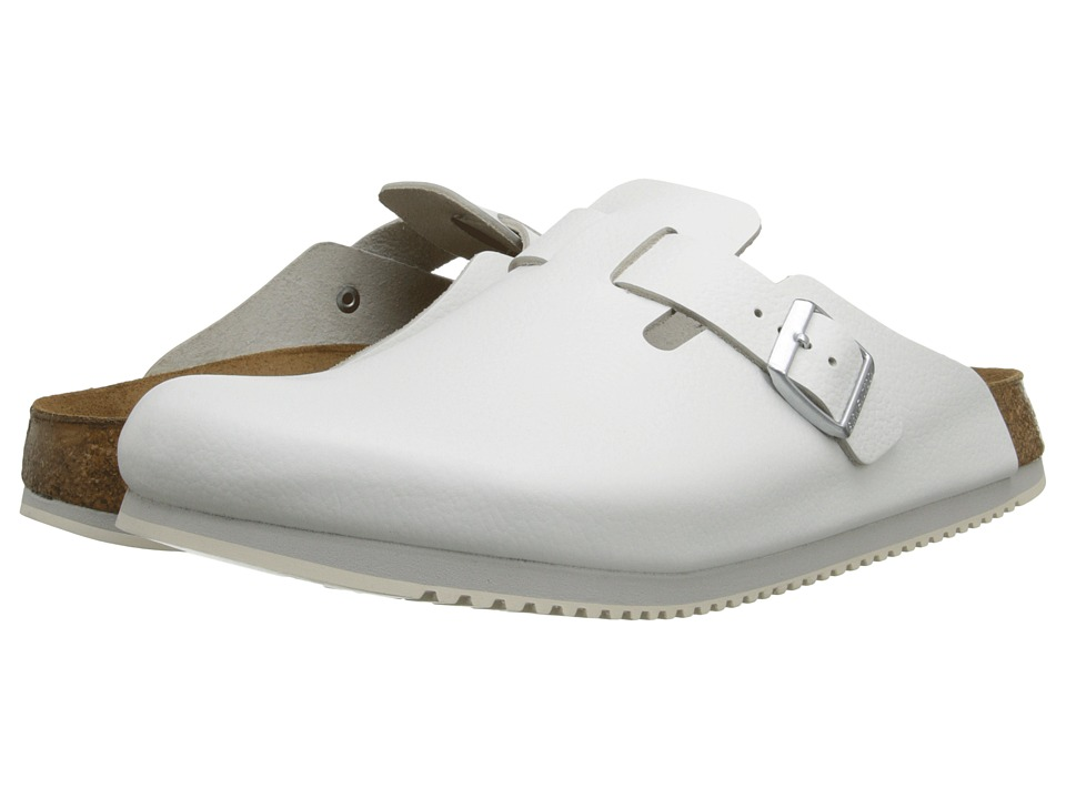 Birkenstock Boston Super Grip (White Leather) Shoes
